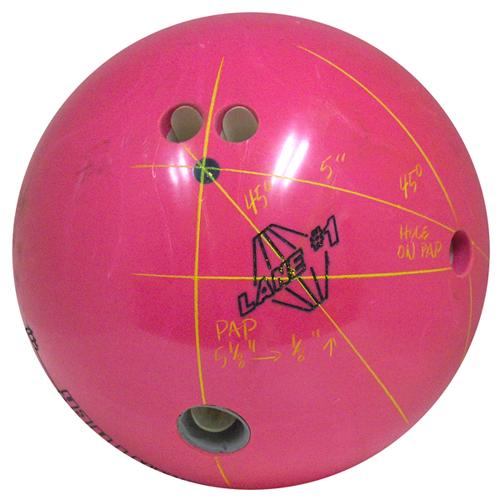 Pink bowling ball and pins